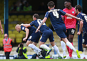 Southend player Adam Barrett turns away to celebrate after opening the scoring during the Sky Bet League 1 match between Southend United and Peterborough United at Roots Hall, Southend, England on 5 September 2015. Photo by Bennett Dean.