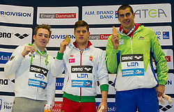 100m Breaststroke Men Final<br /> GYURTA Daniel Hungary HUN Gold Medal<br /> KOCH Marco Germany GER Silver Medal<br /> DUGONJIC Damir Slovenia SLO Bronze Medal<br /> XVII European Short Course Swimming Championships<br /> Herning - DEN Denmark Dic. 12-15 2013<br /> Day02 - Dec. 13 , 2013<br /> Photo G.Scala