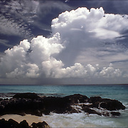 Cumulus clouds over ocean in Cancun Mexico