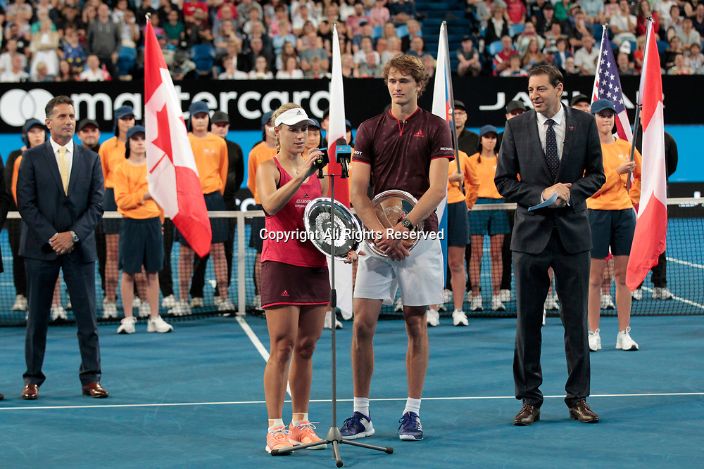 6th January 2018, Perth Arena, Perth, Australia; MasterCard Hopman Cup Tennis Final; Alexander Zverev and Angelique Kerber of Team Germany accept there runners up trophy after the Hopman Cup was won by Switzerland