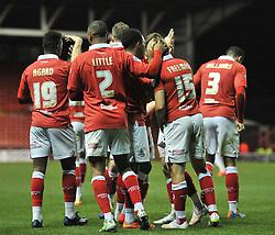 Bristol City's Aaron Wilbraham celebrates with his team mates after scoring. - Photo mandatory by-line: Dougie Allward/JMP - Mobile: 07966 386802 - 10/12/2014 - SPORT - Football - Bristol - Ashton Gate Stadium - Bristol City v Coventry City - Johnstone's Paint Trophy