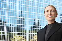 Businesswoman outside office building portrait