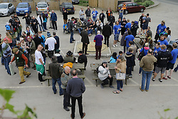 April 14, 2017 - Crawley, Sussex, COUNTRY - Tinsley Green, Crawley, Sussex UK. Annual marble championships 2017 held at the Greyhound pub in Crawley for the  shoot out for marble geeks. Charlwood Strikers(blue tops) v Rolling Drunks. Competitor come from all over the world to compete. (Credit Image: © Presspics/London News Pictures via ZUMA Wire)