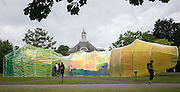 UNITED KINGDOM, London: 22 June 2015 The new Summer Serpentine Pavilion designed by Jose Selgas and Lucia Cano is photographed in London, England. Every year the Serpentine hosts a summer pavilion designed by famous architects. This years pavilion was designed by the duo who are a Madrid based firm called Selgascano.  Andrew Cowie / Story Picture Agency