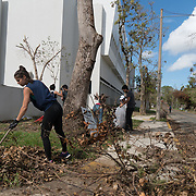 OCTOBER 5, 2017- RIO PIEDRAS, PUERTO RICO - <br /> University of Puerto Rico students  volunteer to clean the campus following the destruction left by Hurricane Maria.<br /> (Photo by Angel Valentin)