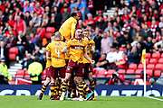 Tom Aldred (#19) of Motherwell celebrates the opening goal for Motherwell (1-0) scored by Curtis Main (#9) of Motherwell during the William Hill Scottish Cup Semi-Final match between Motherwell and Aberdeen at Hampden Park, Glasgow, United Kingdom on 14 April 2018. Picture by Craig Doyle.