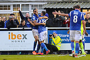 Mikael Mandron (19) of Eastleigh celebrates scoring a goal to give a 1-0 lead to the home team during the Vanarama National League match between Eastleigh and York City at Arena Stadium, Eastleigh, United Kingdom on 12 November 2016. Photo by Graham Hunt.