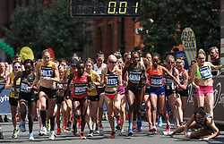 Great Britain's Lily Partridge (right) falls at the start of the Simplyhealth Great Manchester Elite Women's 10k run through Manchester.