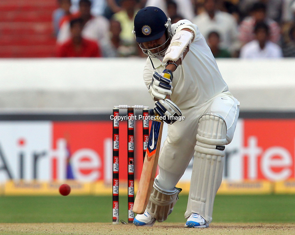 Indian batsman Sreesanth plays a shot against New Zealand during the 2nd test match India vs New Zealand Played at Rajiv Gandhi International Stadium, Uppal, Hyderabad 14, November 2010 (5-day match)