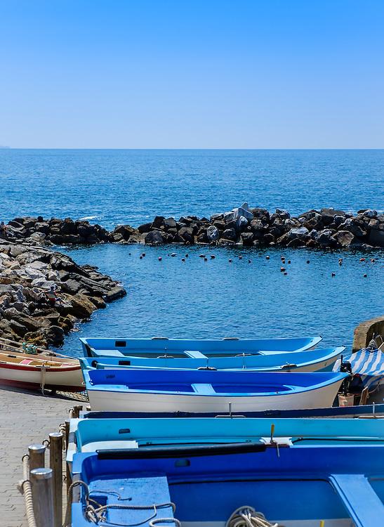 RIOMAGGIORE, ITALY - CIRCA MAY 2015:  Boats in the village of Riomaggiore in Cinque Terre, Italy.
