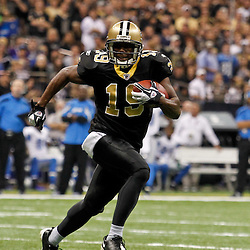 January 7, 2012; New Orleans, LA, USA; New Orleans Saints wide receiver Devery Henderson (19) against the Detroit Lions during the 2011 NFC wild card playoff game at the Mercedes-Benz Superdome. Mandatory Credit: Derick E. Hingle-US PRESSWIRE