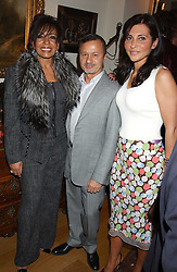 Left to right, SHIRLEY BASSEY, JACQUES AZAGURY and ELLA KRASNER at a Conservative Party Reception for the Art held at 24 Thurloe Square, Lndon SW7 on 5th April 2005.<br />