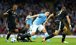 Paul Pogba of Juventus tackles Samir Nasri of Manchester City during the UEFA Champions League group stage match between Manchester City and Juventus at the Etihad Stadium - Mandatory byline: Matt McNulty/JMP - 07966386802 - 15/09/2015 - FOOTBALL - Etihad Stadium -Manchester,England - Manchester City v Juventus - UEFA Champions League - Group D