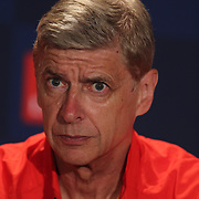 Arsenal Manager Arsène Wenger at a press conference at Red Bull Arena ahead of the friendly match between Arsenal and New York Red Bulls. Red Bull Arena, Harrison, New Jersey. USA. 24th July 2014. Photo Tim Clayton