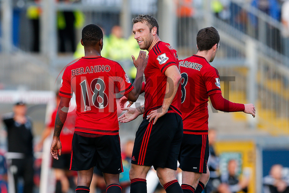 Rickie Lambert of West Brom (C) celebrates with his new teammate Saido Berahino after he scores a goal against his former club having only today completing his transfer from Liverpool - Mandatory byline: Rogan Thomson/JMP - 07966 386802 - 31/07/2015 - FOOTBALL - Memorial Stadium - Bristol, England - Bristol Rovers v West Bromwich Albion - Phil Kite Testimonial Match.