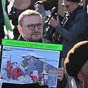 Protests against Sadiq Khan has agreed to binding ballots in some circumstances, but there should be no exceptions of Hundreds of council tenants across London face the destruction of their homes and communities, without any say. The rally will bring together people from some of the 80 estates in the city currently facing demolition, with campaigners demanding Safe, Secure Homes for All outside City Hall on 3 November 2018, London, UK.