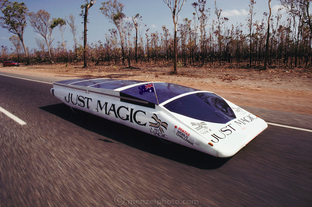 "The ""Just Magic"" solar car from the UK at the start of the Pentax World Solar Challenge, the first international solar-powered car race. The event began in Darwin, Northern Territories on November 1st, 1987 and finished in Adelaide, South Australia completing 1,950 miles."