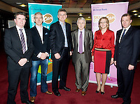 At the Ulster Bank Business Live event in the clayton Hotel Galway were, from right to left, Brendan McDermott Regional Director Midlands and West Ulster Bank, Declan Droney, Kinvara Smoked Salmon, Fionan Murray Smallbusinesscan.com, Tom Murphy Pannax, Castlebar, Mary Nash Chanelle, and Simon McKeever Director Trade & Investment at The British Embassy . Galway business professionals and entrepreneurs attend an event focused on international and cross-border trading – providing knowledge and guidance on new opportunities for businesses that are looking to expand their current reach for their products or services. The event, which took place on 6th February, was part of Ulster Bank's 'Business Live' series, running in association with Smallbusinesscan.com. The Ulster Bank Business Live events will run until March 5th 2012, appearing in key towns and cities in the Republic of Ireland and Northern Ireland. Further information about the Business Live events is available from Ulster Bank branches or at www.smallbusinesscan.com. Photo:Andrew Downes photography..