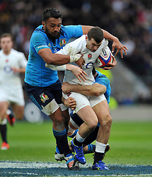 Jonny May of England takes on the Gloucester defence - Photo mandatory by-line: Patrick Khachfe/JMP - Mobile: 07966 386802 14/02/2015 - SPORT - RUGBY UNION - London - Twickenham Stadium - England v Italy - Six Nations Championship