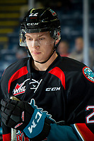 KELOWNA, CANADA - SEPTEMBER 22:  Braydyn Chizen #22 of the Kelowna Rockets warms up against the Kamloops Blazers on September 22, 2018 at Prospera Place in Kelowna, British Columbia, Canada.  (Photo by Marissa Baecker/Shoot the Breeze)  *** Local Caption ***
