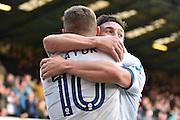 Bury Midfielder, Danny Mayor (10) and Bury Defender,  Craig Jones (2) celebrate 2-1 during the EFL Sky Bet League 1 match between Bury and Shrewsbury Town at the JD Stadium, Bury, England on 10 September 2016. Photo by Mark Pollitt.