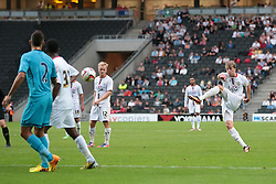 MK Dons forward Patrick Bamford (15) with a shot on goal during the pre-season friendly game between MK Dons and Tottenham XI.  Photo mandatory by-line: Nigel Pitts-Drake/JMP  - Tel: Mobile:07966 386802 31/07/2013 - MK Dons v  Tottenham XI  - SPORT - FOOTBALL - pre-season - Milton Keynes - Stadium MK
