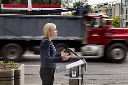 October 9, 2018 - Toronto, ON, Canada - TORONTO, ON - OCTOBER 9  - Mayoral candidate Jennifer Keesmaat speaks to media on Yonge St. in North York, October 9, 2018. Protected bike lanes would replace two lanes of vehicle traffic on a remade north Yonge St. if Jennifer Keesmaat is elected Toronto mayor. Andrew Francis Wallace/Toronto Star (Credit Image: © Andrew Francis Wallace/The Toronto Star via ZUMA Wire)