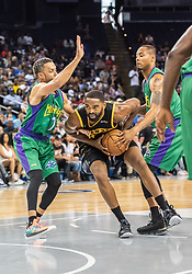 July 6, 2018 - Oakland, CA, U.S. - OAKLAND, CA - JULY 06: Alan Anderson (6) of the Killer 3s moves past Mahmoud Abdul-Rauf (7) co-captain of 3 Headed Monsters during game 4 in week three of the BIG3 3-on-3 basketball league on Friday, July 6, 2018 at the Oracle Arena in Oakland, CA (Photo by Douglas Stringer/Icon Sportswire) (Credit Image: © Douglas Stringer/Icon SMI via ZUMA Press)