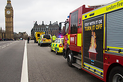 Westminster, London, March 29th 2017. One week after the terror attack on Westminster bridge, it is once again the scene of an emergency services operation as police, ambulance and fire crews search the river after a person jumped from the bridge. The person has not so far been recovered.<br /> PICTURED:  Emergency services vehicles on Westminster Bridge.<br /> CREDIT: ©Paul Davey<br /> FOR LICENCING CONTACT: Paul Davey +44 (0) 7966 016 296 paul@pauldaveycreative.co.uk