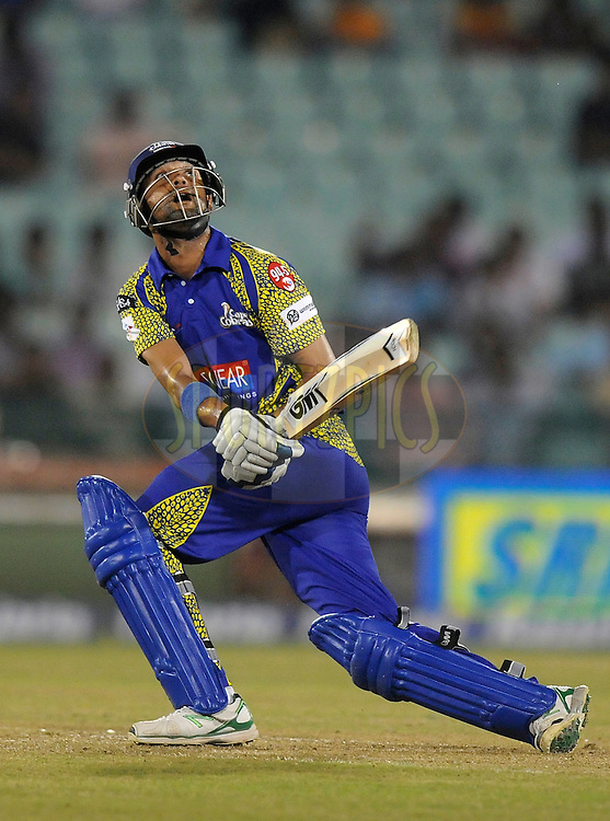 Robin Peterson of Cape Cobras bats during match 3 of the Oppo Champions League Twenty20 between the Cape Cobras and the Northern Knights held at the Chhattisgarh International Cricket Stadium, Raipur, India on the 19th September 2014<br /> <br /> Photo by:  Pal Pillai / Sportzpics/ CLT20<br /> <br /> <br /> Image use is subject to the terms and conditions as laid out by the BCCI/ CLT20.  The terms and conditions can be downloaded here:<br /> <br /> http://sportzpics.photoshelter.com/gallery/CLT20-Image-Terms-and-Conditions-2014/G0000IfNJn535VPU/C0000QhhKadWcjYs