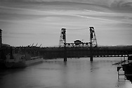 Looking North on the Willamette River in Portland Oregon, at the Steel Bridge