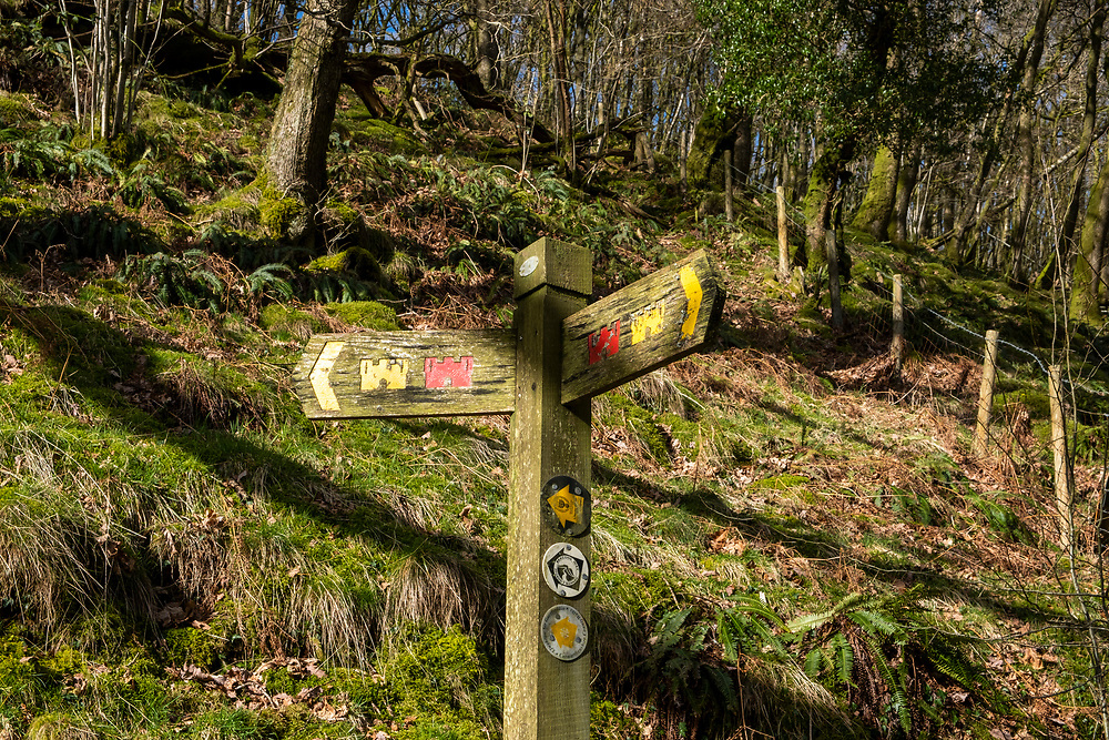 Wooden sign along circular walking route on Carreg Cennen Castle, Trapp, Brecon Beacons, Powys, UK.  (photo by Andrew Aitchison / In pictures via Getty Images)