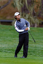 Feb 11, 2012; Pebble Beach CA, USA;  Kevin Na hits his second shot on the third hole during the third round of the AT&T Pebble Beach Pro-Am at Pebble Beach Golf Links. Mandatory Credit: Jason O. Watson-US PRESSWIRE