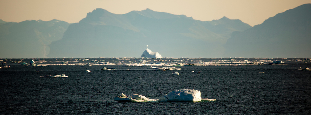 Fata Morgana, or superior mirage off the coast of Arctic Greenland