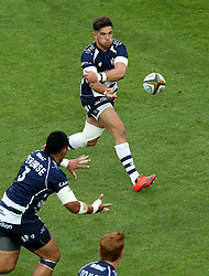 Bristol Rugby Inside Centre Ben Mosses passes the ball - Mandatory byline: Robbie Stephenson/JMP - 25/05/2016 - RUGBY UNION - Ashton Gate Stadium - Bristol, England - Bristol Rugby v Doncaster Knights - Greene King IPA Championship Play Off FINAL 2nd Leg.