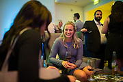 Kelsey Cody and Chelsea Brown (foreground) of Premier Staffing socialize during the Silicon Valley Business Journal's Annual Silicon Valley Structures Awards event at the Fairmont San Jose in San Jose, California, on September 21, 2017. (Stan Olszewski for Silicon Valley Business Journal)