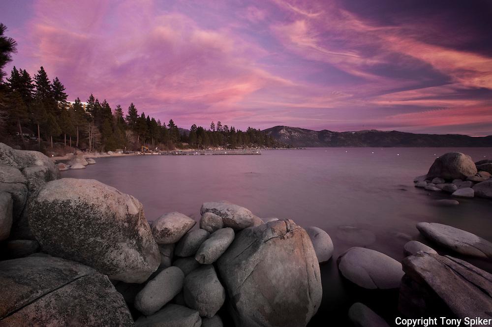"""Speedboat Beach Sunset 5"" - The sun sets over Lake Tahoe at Speedboat Beach, California"