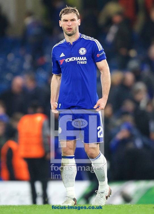 Branislav Ivanovic of Chelsea looks dejected after being knocked out by Paris Saint-Germain during the UEFA Champions League match at Stamford Bridge, London<br /> Picture by Alan Stanford/Focus Images Ltd +44 7915 056117<br /> 09/03/2016