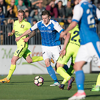 FK Trakai v St Johnstone…06.07.17… Europa League 1st Qualifying Round 2nd Leg, Vilnius, Lithuania.<br />Blair Alston is tackled by Mykhaylo Shyshka<br />Picture by Graeme Hart.<br />Copyright Perthshire Picture Agency<br />Tel: 01738 623350  Mobile: 07990 594431