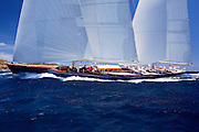 Rebecca sailing in the 2010 Antigua Classic Yacht Regatta, Windward Race, day 4.