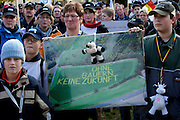 "Mainz | Oct 30 2009..Dairy farmer with ther children and a cardboard wich reads ""Ohne Bauern keine Zukunft"" (No Future Without Farmers) during a protest march of german dairy farmers rallying nationwide against low prices for milk and unfair subsidy policy of the EU (European Union).  ..Photo: juelich/ip-photo.com"