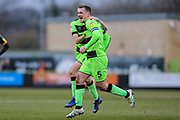 Forest Green Rovers Lee Collins(5) scores a goal 3-0 and celebrates during the EFL Sky Bet League 2 match between Forest Green Rovers and Yeovil Town at the New Lawn, Forest Green, United Kingdom on 16 February 2019.