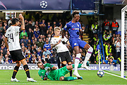 Chelsea forward Tammy Abraham (9) goes towards the goal during the Champions League match between Chelsea and Valencia CF at Stamford Bridge, London, England on 17 September 2019.