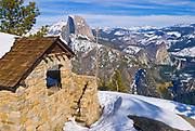 The Glacier Point hut and Half Dome, Yosemite National Park, California USA