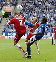 Photo: Kevin Poolman.<br />Leicester City v Southend United. Coca Cola Championship. 26/08/2006. Leicester's Chris O'Grady hooks the ball over Southend's Simon Francis.