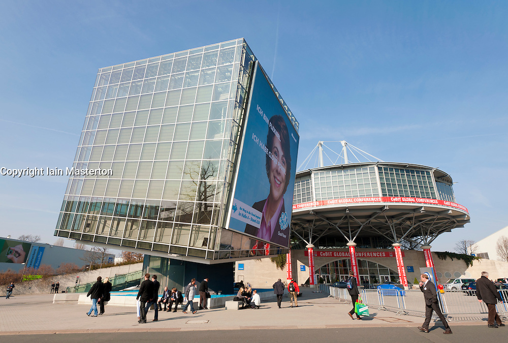 External view of halls at CeBIT 2011 digital and electronics trade fair in Hannover March 2011 Germany