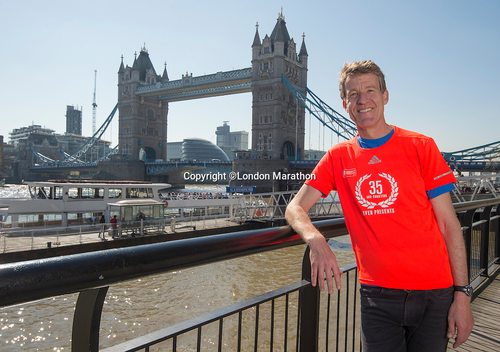 "Virgin Money London Marathon 2015<br /> <br /> Chris Finnell UK has run in every London Marathon for the last 35 years since the first London Marathon in 1981.<br /> Only 14 people are in this exclusive group they are known as the ""Ever Presents""<br /> <br /> <br /> Photo: Bob Martin for Virgin Money London Marathon<br /> <br /> This photograph is supplied free to use by London Marathon/Virgin Money."