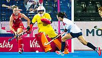 Londen - Keeper Maddy Hinch (Eng)   tijdens de cross over wedstrijd Engeland-Korea (2-0) bij het WK Hockey 2018 in Londen.    COPYRIGHT KOEN SUYK