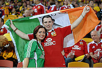 22 June 2013; British & Irish Lions supporters Aisling Halligan and Brian Lennon, from Roscommon, at the game. British & Irish Lions Tour 2013, 1st Test, Australia v British & Irish Lions, Suncorp Stadium, Brisbane, Queensland, Australia. Picture credit: Stephen McCarthy / SPORTSFILE