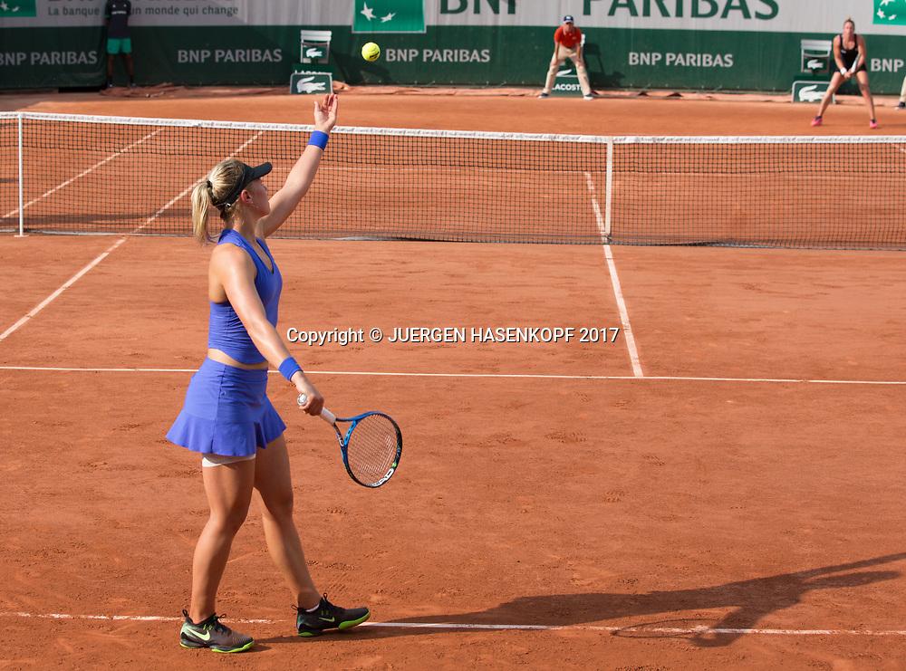 CARINA WITTHOEFT (GER) Aufschlag, von hinten, Rueckenansicht<br /> <br /> <br /> Tennis - French Open 2017 - Grand Slam / ATP / WTA / ITF -  Roland Garros - Paris -  - France  - 1 June 2017.